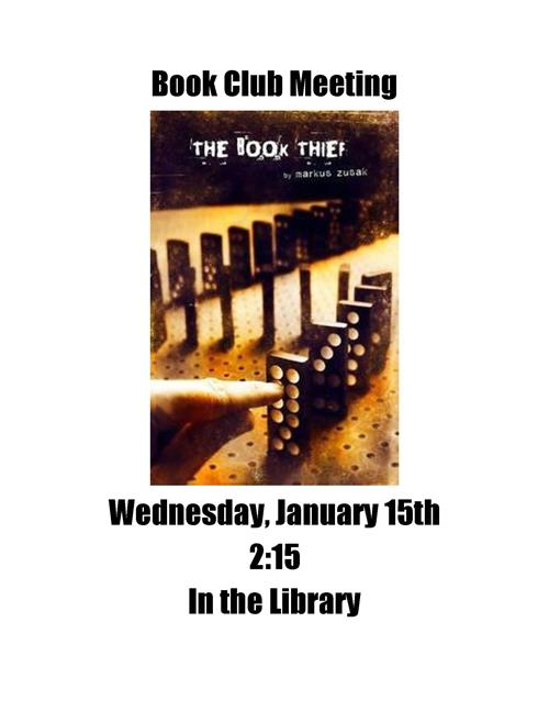 Book Club Meeting Wed Jan 15th 2:15pm