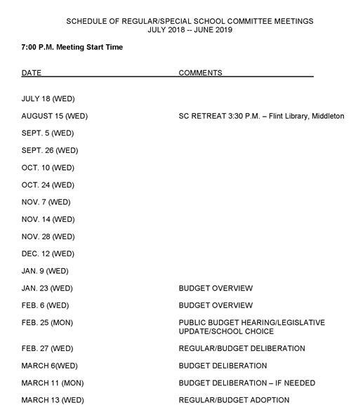 Meeting Schedule / Meeting Schedule